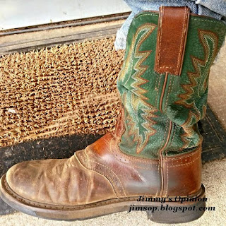 side view of Jimmy's Justin roper boot with green top