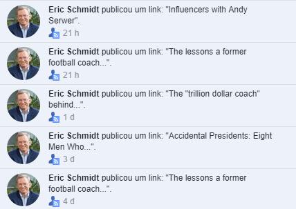 O ex-CEO do Google, Eric Schmidt, anda muito ativo no Facebook.