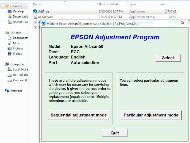 Epson Artisan 50 Resetter