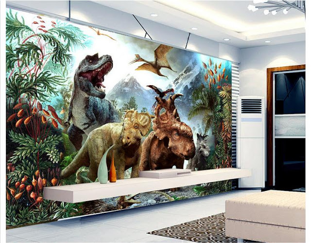 Dinosaur wall mural 3D wallpaper for child bedroom Jurassic kids childrens room