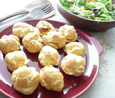 Chick Pea Cream Puffs stuffed with cheese and pepper paté