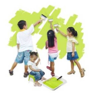 Four kids painting a wall green, an assignment to keep them busy and survive home remodeling with kids