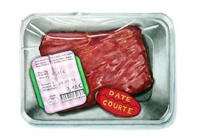 """Barquette avec l'étiquette """"date courte"""""""