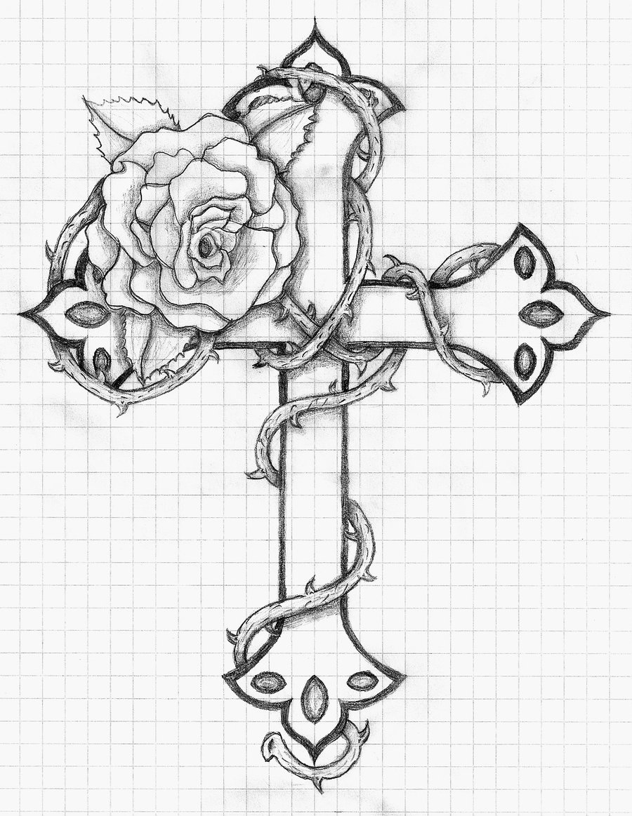 hard cross coloring pages | Step-by-Step Drawings: 23.6.13 ~ Drawing of a Cross & Rose