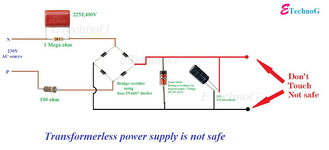 What is Transformerless Power Supply?How Transformerless Power Supply works? Ho to make Transformerless Power Supply. Transformerless Power Supply circuit diagram.