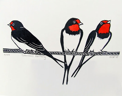 Swallows on Telephone Wire Linocut