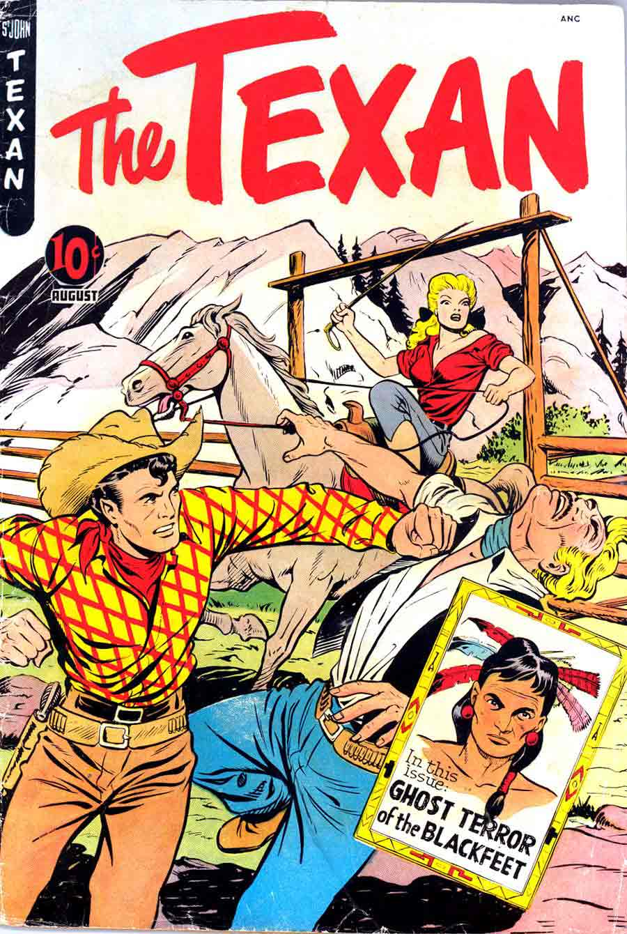 Matt Baker golden age 1950s st. john western comic book cover art - Texan #9
