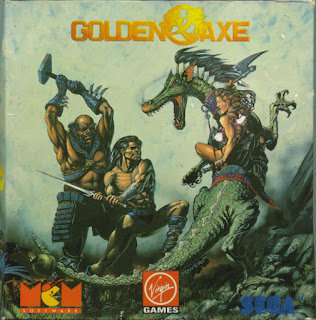 Cubierta de Golden Axe para Amstrad CPC, distribuido Virgin, 1990