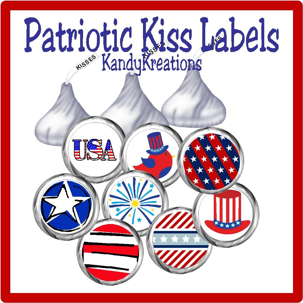 Patriotic Kiss Labels