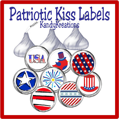 These Hershey kiss labels would be perfect for our 4th of July picnic this year.  So simple and cute that our friends are going to love the addition to the party.  Plus, its a quick and easy project with a free printable.  Love it