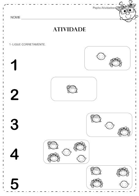Atividades Numerais 1 a 5 para imprimir