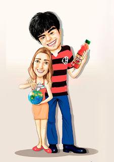 caricatura de casal flamenguista