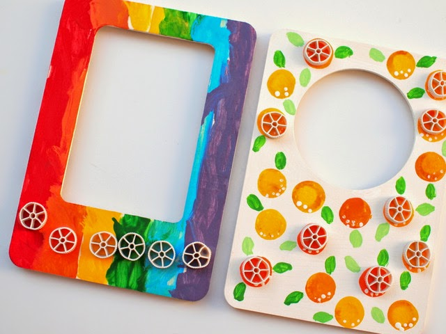 glue pasta onto painted frame for kids craft