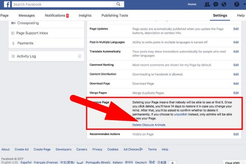 how to delete fan page in facebook