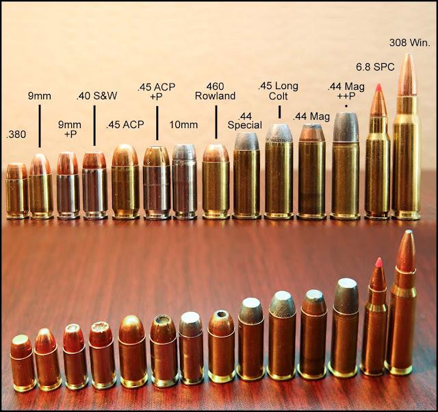 Common Pistol Ammo Cartridge Visual Size Comparison Photo