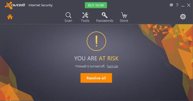 Firewall Avast Internet Security Keadaan off