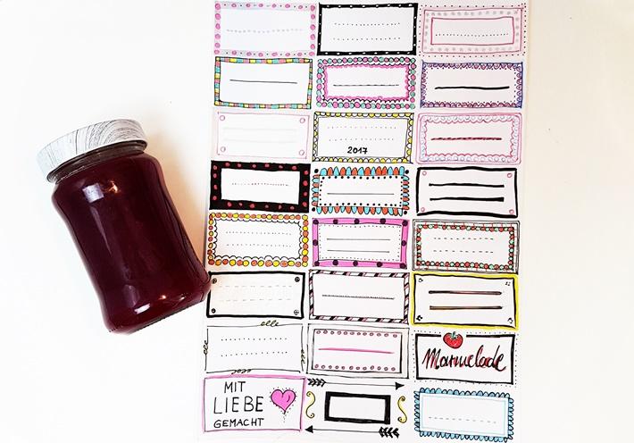 wiederabloesbare Etiketten bemalen fuer Marmeladenglas