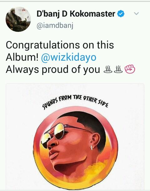 D'banj D Kokomaster Congratulates WizKids On His New Album
