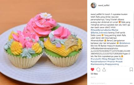 tiga cupcakes pilihan teteh rafa yang diperlombakan dinilai juri masak bersama barbie chef stella lowis almond zucchini cooking studio nurul sufitri blogger