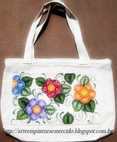pintura em tecido country bolsa