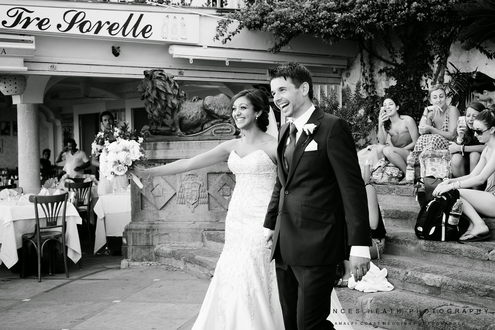 Bride and groom in Positano Italy