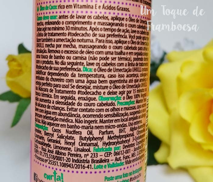 Informações e ingredientes do rótulo do Óleo de Umectação UHULLL! Óleo de Coco Puríssimo Salon Line