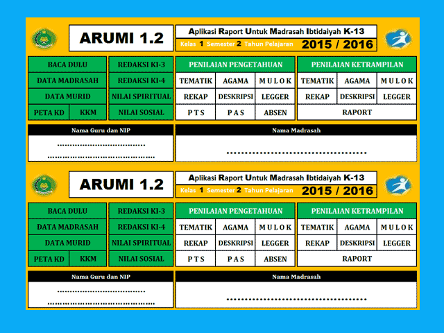 Download Aplikasi Raport SD/MI Terbaru Kurikulum 2013 Format excel