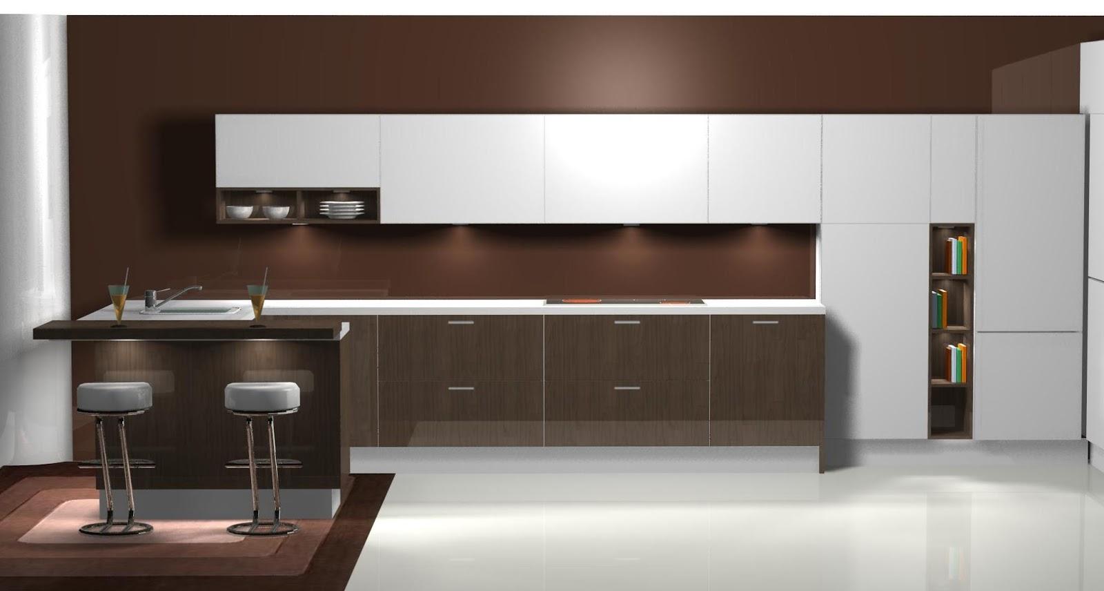 Dise o muebles de cocina dise o de cocina en blanco y wengue for Muebles de diseno online outlet