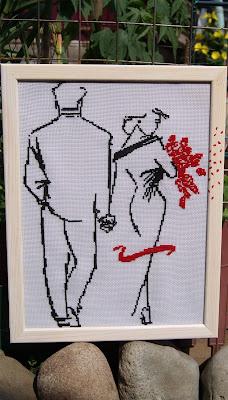 контурная вышивка, монохром, двое, вышиваю крестиком, вышитая картина, вышивка влюбленных, монохромная вышивка. черно-белая вышивка