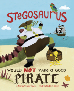 A Stegosaurus Would NOT Make a Good Pirate - Gary the stegosaurus was just fired from this pirate job. But it was *not* his fault! From mis-sized clothes to almost sinking the boat from his weight, Gary has a tough go at being a pirate. Gary tries his best, but how was he supposed to know the poop deck isn't a bathroom?!  #childrensbooks #books #read #pirate #dinosaur #stegosaurus