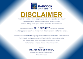 Babcock University Security Alert/Disclaimer Notice to Parents
