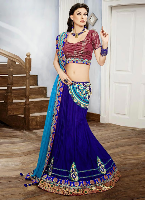 Blue Net Fish Cut Lehenga Choli (2)