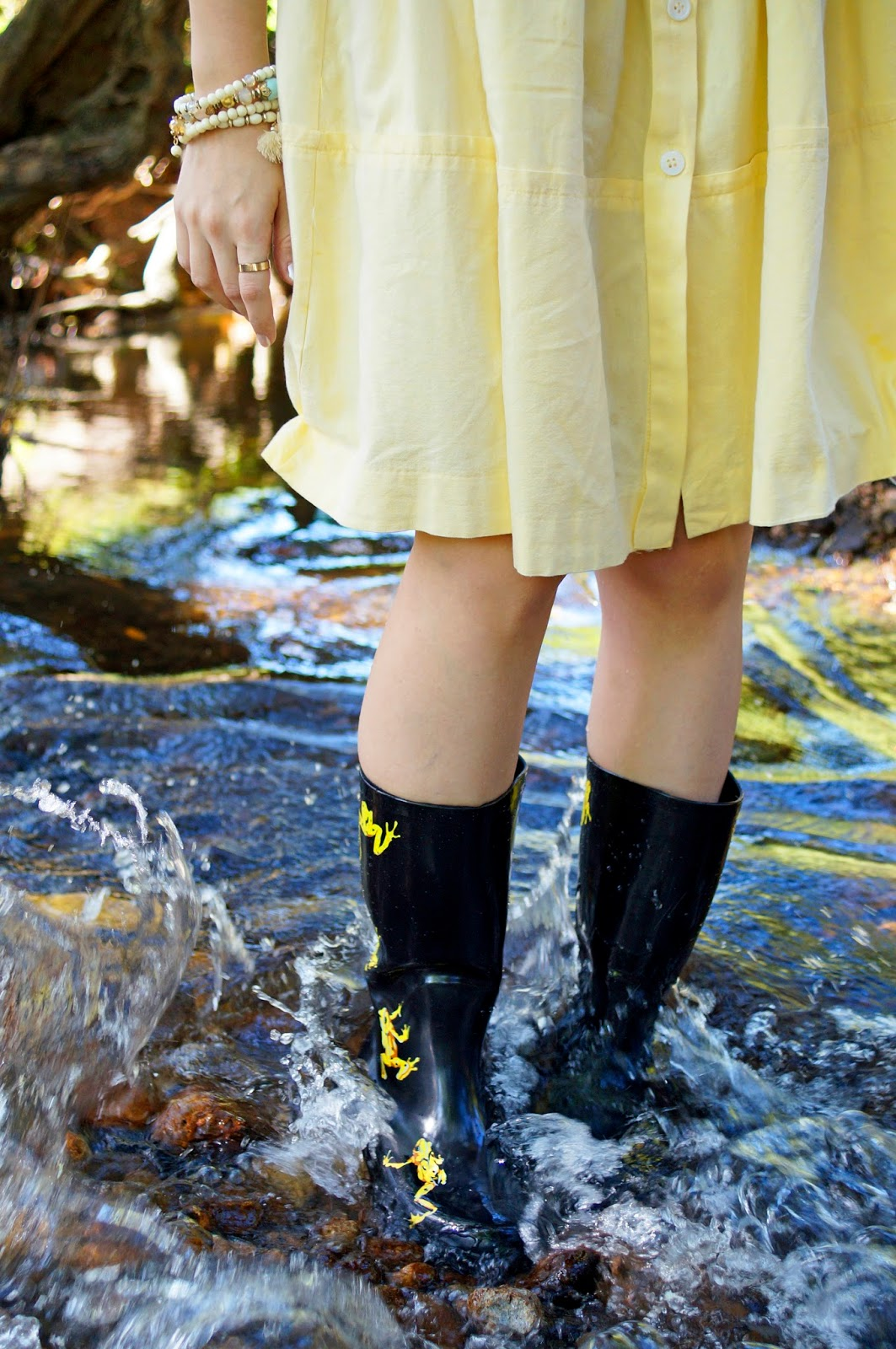 Cute Golden Frog Rain Boots by Undercover Boots