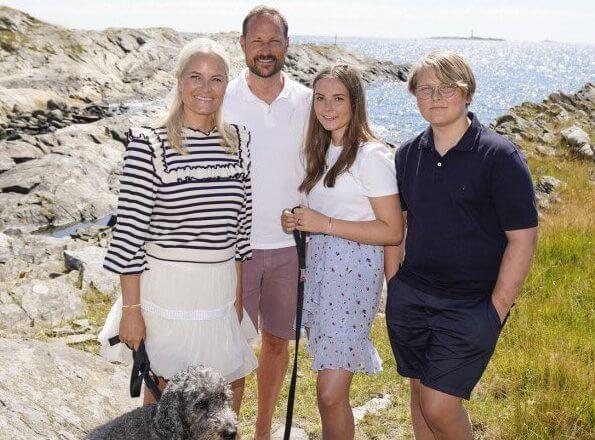 Crown Princess Mette-Marit wore a new sweatshirt by Ulla Johnson. Princess Ingrid Alexandra wore a new printed mini skirt by Ganni