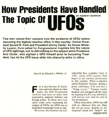 How Presidents Have Handled The Topic of UFOs (Pg 1) - By Robert Barrow - Argosy UFO 1977-78