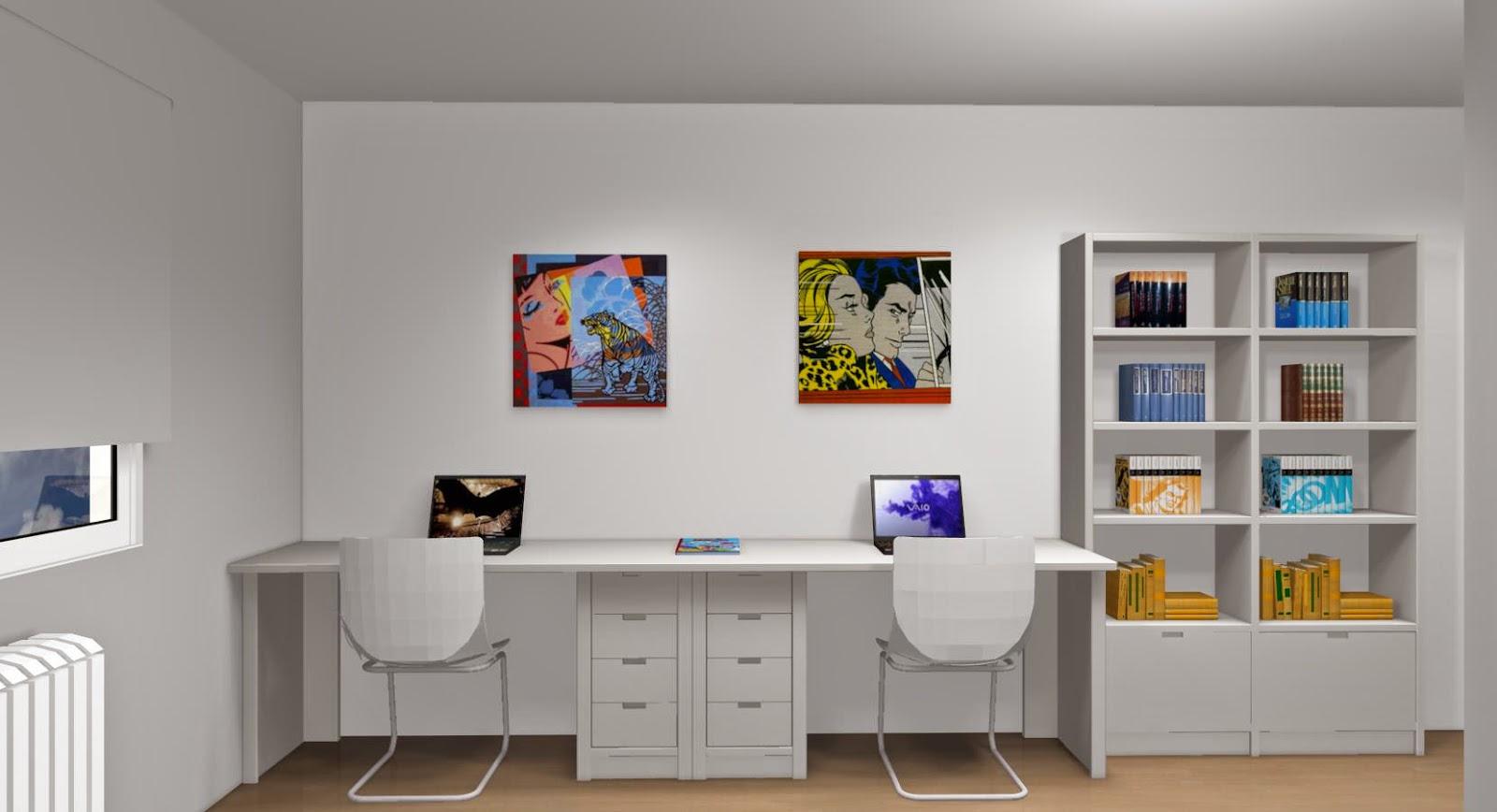Zona de estudio blanca para dos for Dormitorio para 4 personas