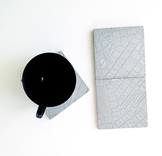 Concrete Athens map coasters by A Future Perfect