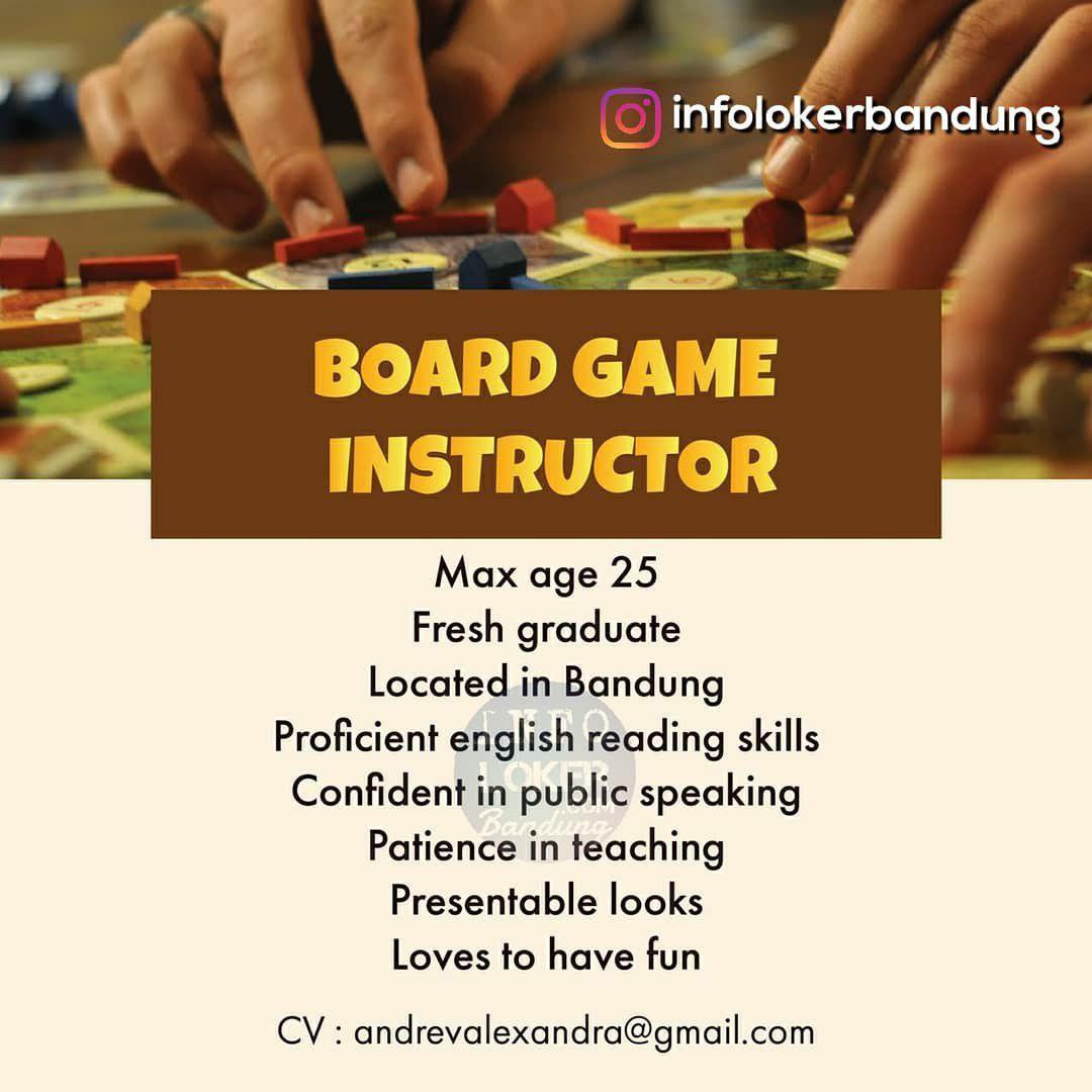 Lowongan Kerja Board Game Instructor Bandung Agustus 2018