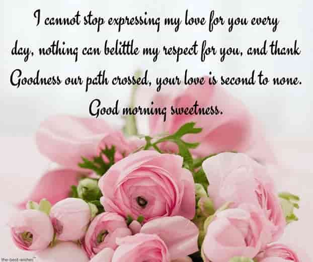 good morning love of my life letters with pink roses bouquet