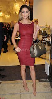 Ashley James Exposing her beautiful Nipples gorgeous Body in Tight Red Skin Tight Leather Dress