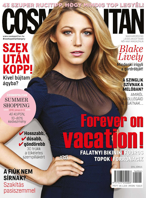 Actress, Model, @ Blake Lively in Cosmopolitan Magazine, Hungary June 2016 Issue