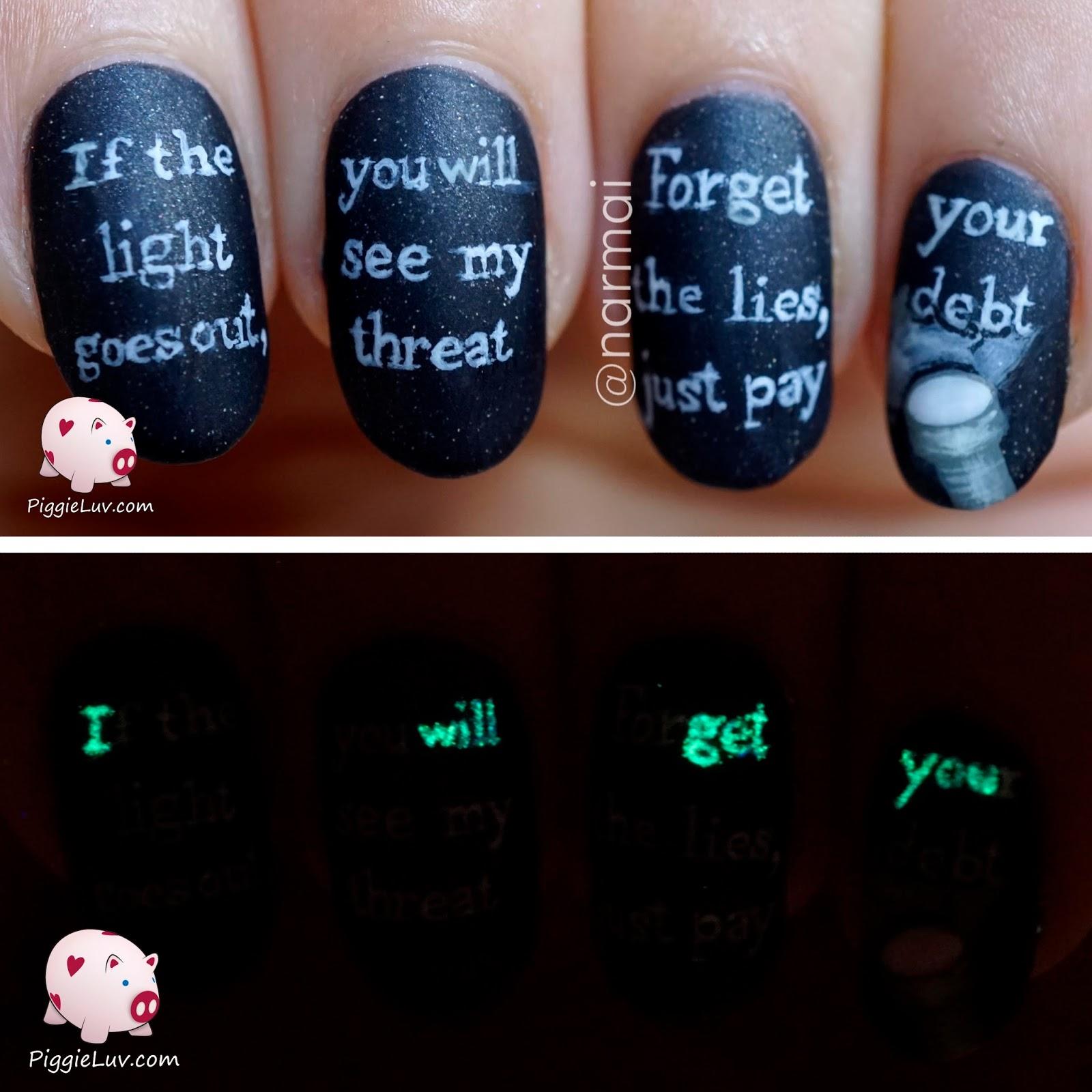 PiggieLuv: Glow in the dark threat message nail art
