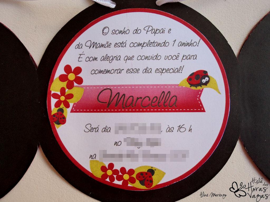 convite joaninha aniversário piquenique floresta 1 aninho menina