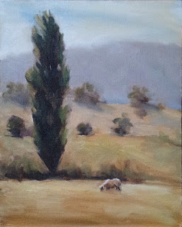 Oil painting a landscape with a sheep and a poplar in the foreground, and hills in the background.