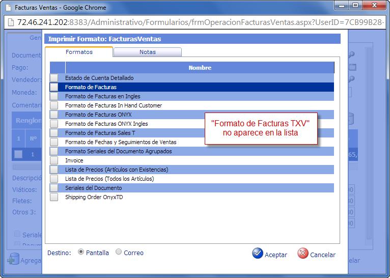 No se encuentra el Formato - Programación de Reportes en eFactory ERP/CRM, Contabilidad, Nómina