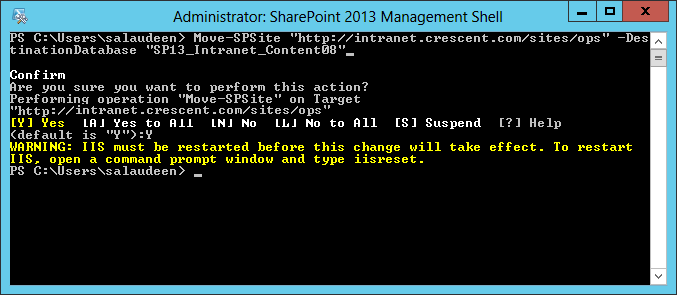 move site collection to another content database sharepoint using powershell