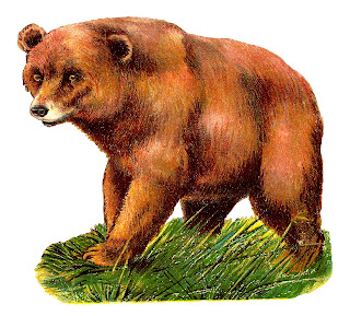 bear grizzly animal clipart artwork drawing illustration antique image