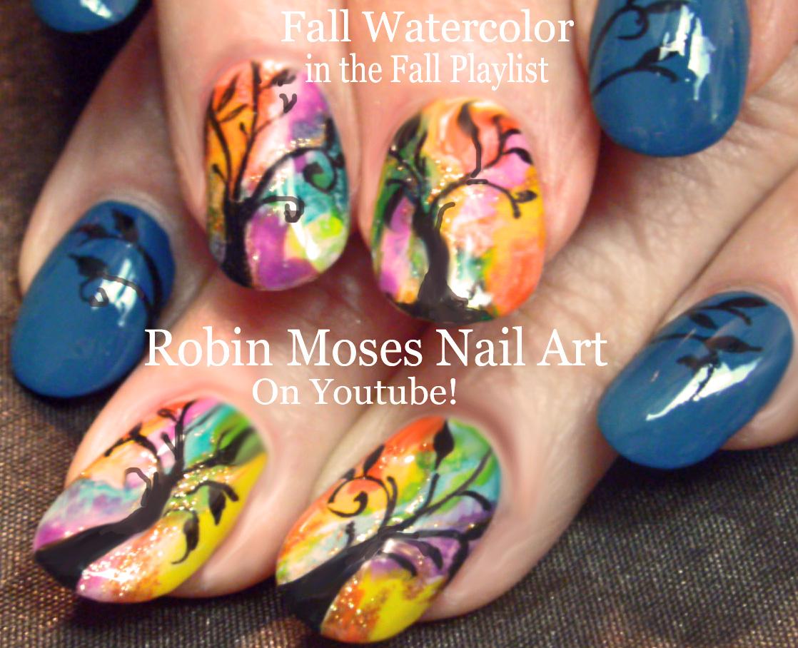Nail Art by Robin Moses: Rainbow Watercolor Tree Nails! Fall nail ...