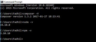 hasil cek versi composer, nodejs dan npm