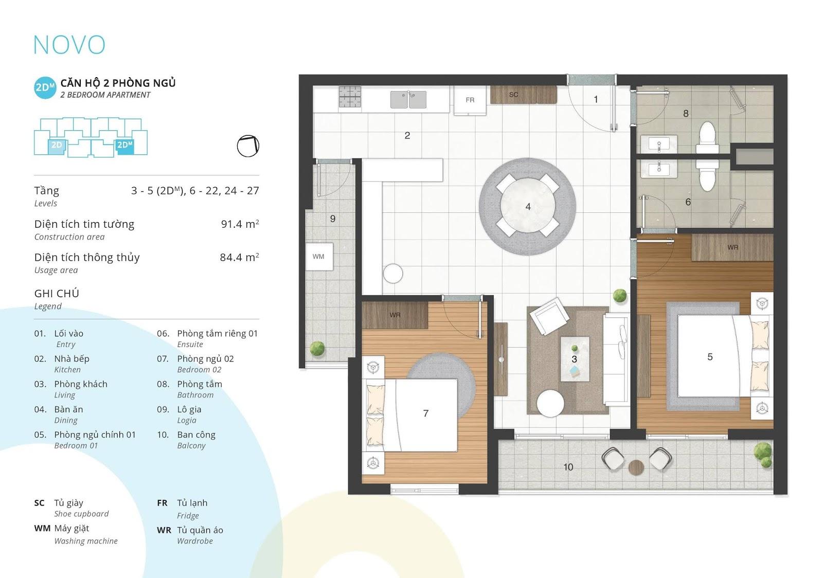 Mặt bằng căn hộ 2 phòng ngủ 84 m2 thông thủy tòa NOVO dự án Kosmo